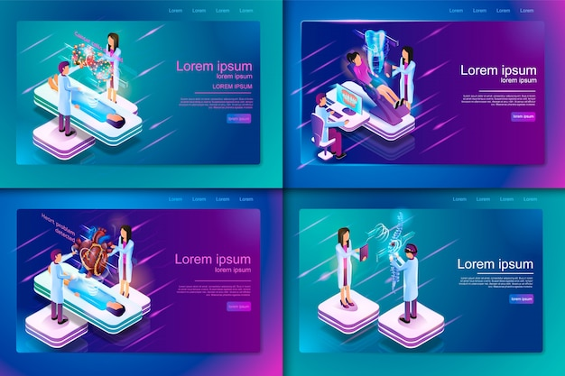 Set banner isometric medical treatment for patient