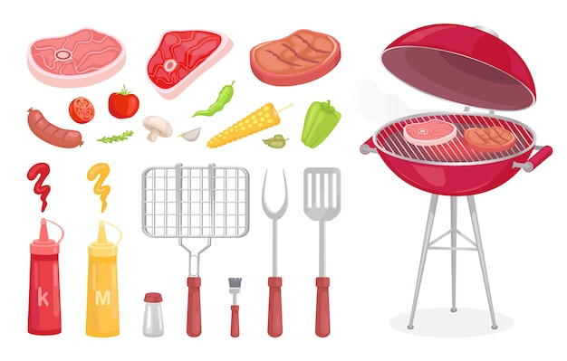 Set barbecue, attrezzatura per barbecue e carne