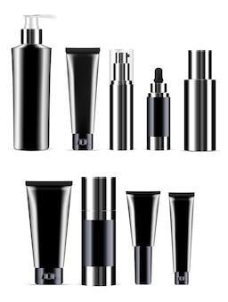 Set bottiglia cosmetica nera. vaso prodotto realistico.