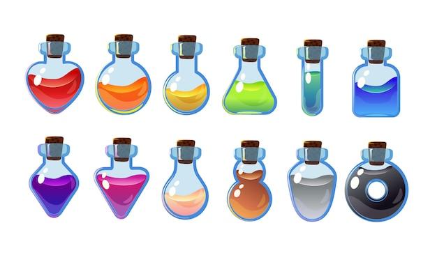 Set bottiglie con diverse pozioni. illustrazione dell'interfaccia di gioco.