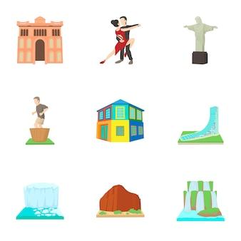 Set brasile, stile cartoon
