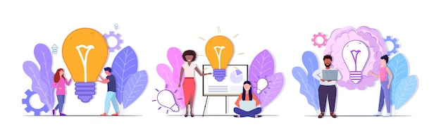 Set businesspeople holding brillante bulbo successo lavoro di squadra soluzioni creative grande idea brainstorming concetti collezione mix uomini donne colleghe brainstorming integrale lunghezza orizzontale