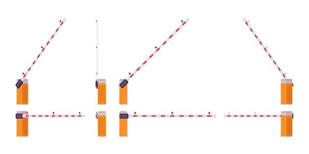 Set cancello automatico barriera barriera. barra, palo per bloccare l'accesso attraverso un punto controllato. abbellimento della via della città, concetto di progetto urbano. stile cartoon illustrazione, diverse posizioni