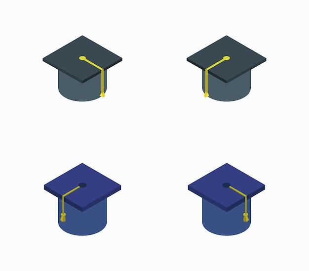 Set cappello laurea icona isometrica