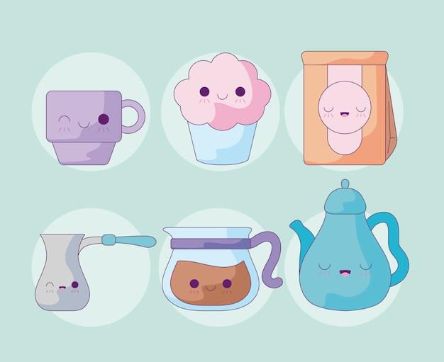 Set carino teiera con icone in stile kawaii