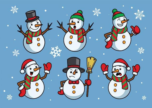 Set cartone animato di pupazzo di neve