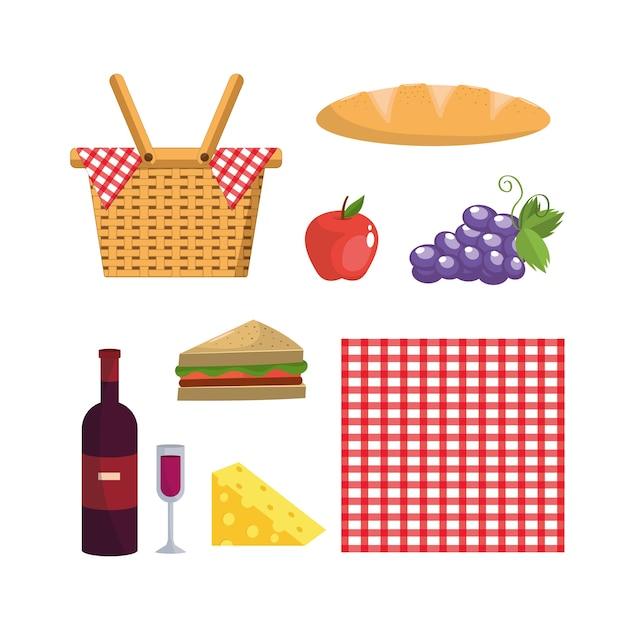 Set cestino e decorazione e cibo tovaglia