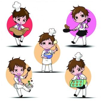 Set chef divertente simpatico cartone animato. carattere concetto di lavoro.