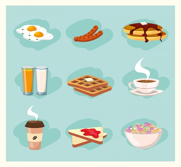Set cibo delizioso colazione nutrizione