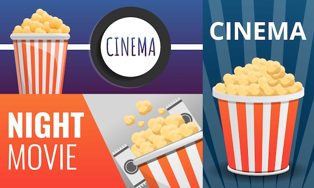 Set cinema popcorn, in stile cartone animato