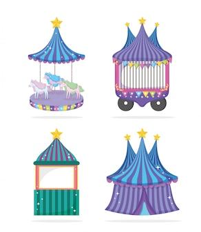 Set circus festival di intrattenimento evento tradizionale
