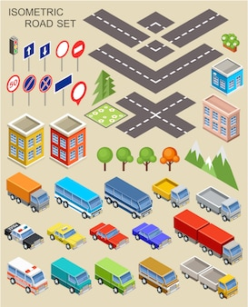 Set città isometrica.