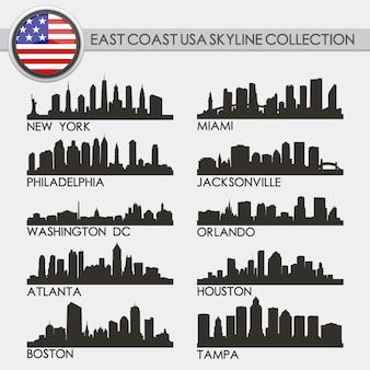 Set città skyline della costa occidentale usa