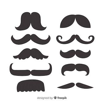 Set classico di baffi con design piatto