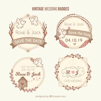 Set classico di distintivi di matrimonio vintage