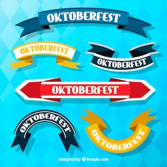 Set classico di nastro oktoberfest con design piatto