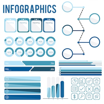 Set collection of blue infographics