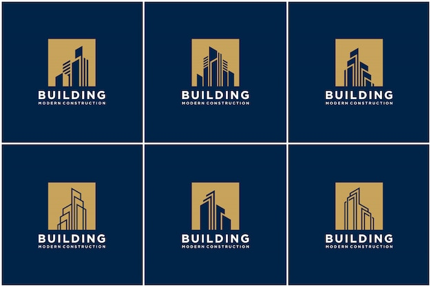Set collezione costruzione logo design bundle costruzione.