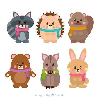 Set colorato di adorabili animali invernali