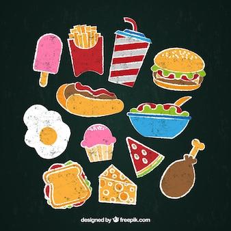 Set colorato di cibo in stile lavagna