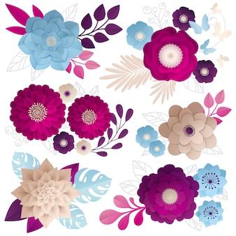 Set colorato di composizioni di fiori di carta