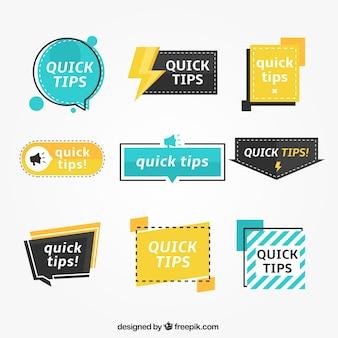 Set colorato di etichette tip con design piatto