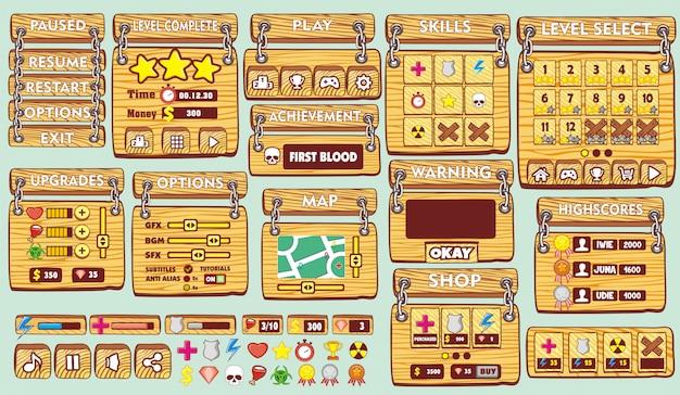 Set completo di interfaccia utente grafica (gui) per creare giochi e applicazioni 2d