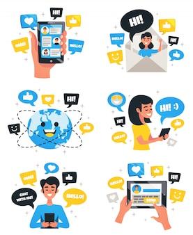 Set composizione composizioni comunicazione chat