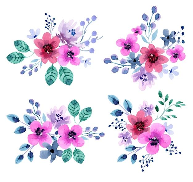 Set composizioni floreali abbastanza rosso e viola