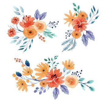Set composizioni floreali dell'acquerello ocra.