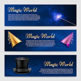 Set con bacchetta magica, cappello a cilindro e cappelli da festa