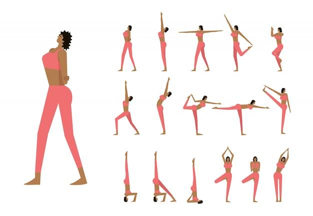 Set con bella donna in pose di yoga