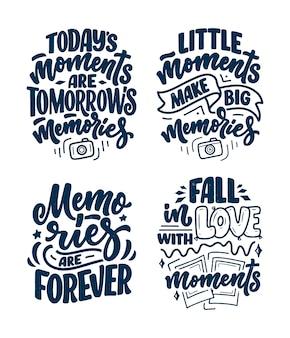Set con citazioni di ispirazione stile di vita di viaggio sui bei ricordi, lettere disegnate a mano