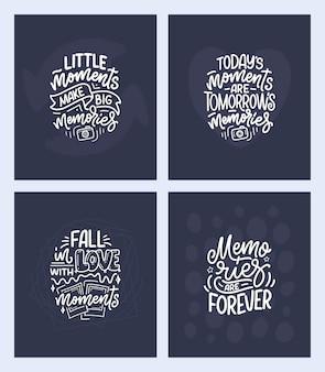 Set con citazioni di ispirazione stile di vita di viaggio sui bei ricordi