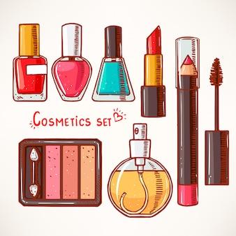 Set con cosmetici decorativi da donna. disegnato a mano.