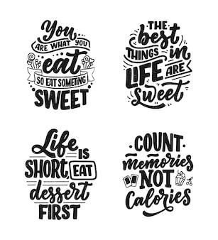 Set con detti divertenti, citazioni di ispirazione per la stampa di caffè o prodotti da forno.