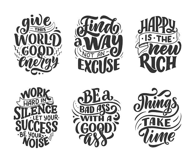 Set con divertenti composizioni scritte disegnate a mano. frasi fantastiche