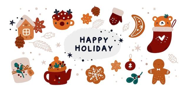 Set con elementi festivi su un tema di natale e felice anno nuovo con elementi di cartone animato