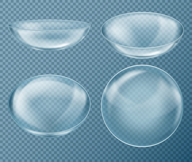 Set con lenti a contatto blu per la cura degli occhi, isolato su sfondo trasparente. equipaggiamento medico