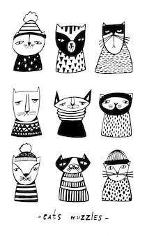Set con museruole gatti dei cartoni animati. collezione di gattino doodle disegnato a mano. illustrazione vettoriale