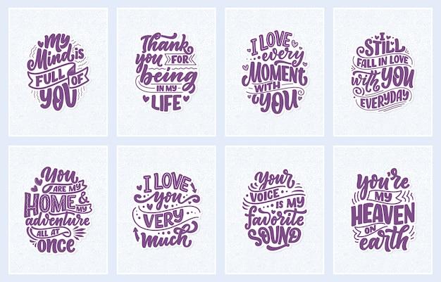 Set con slogan sull'amore in un bellissimo stile. composizioni scritte astratte di vettore.