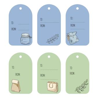 Set con tag regalo eco-compatibili. raccolta di etichette ecologiche e senza sprechi. diventa verde