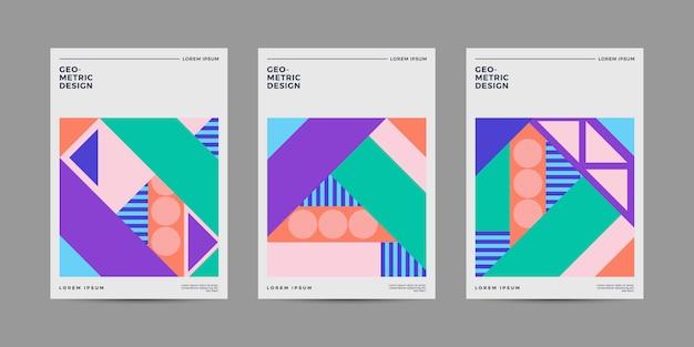 Set copertina geometrica retrò