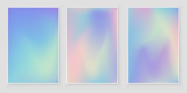 Set copertina olografica sfumatura iridescente copertina astratta