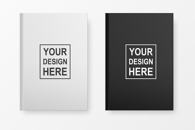 Set copertina realistica libro vuoto. modello in bianco e nero su bianco. modello.