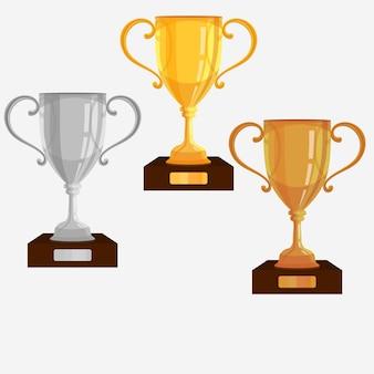 Set coppe trofeo oro, argento, bronzo