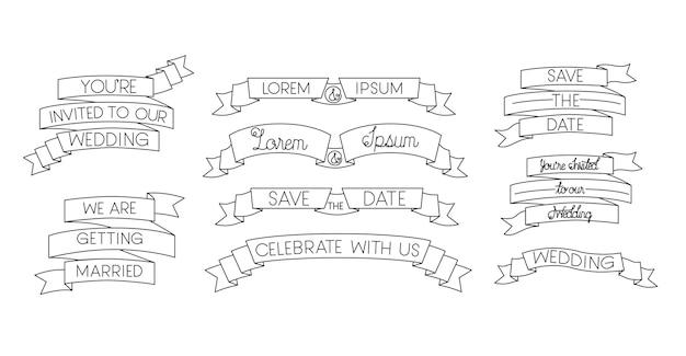 Set cornici nastri con calligrafia