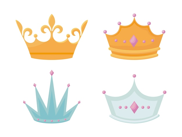 Set corona monarchica con pietre preziose