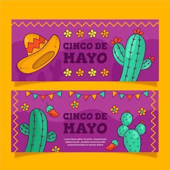 Set creativo di banner cinco de mayo