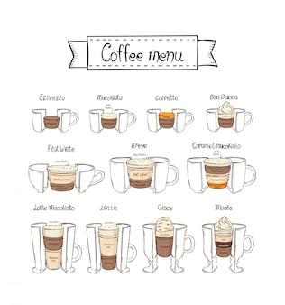 Set da caffè infografica. parte 2. espresso, macchiato, coretto, con panna, piatto bianco, breve, latte, glace, moka